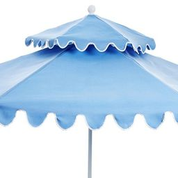 Daiana Two-Tier Patio Umbrella, Light Blue/White | One Kings Lane