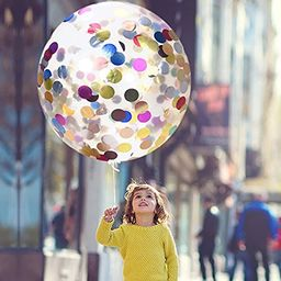 """36"""" Jumbo Confetti Balloons AOSTAR Pack of 5 Latex Balloons with Multicolor Confetti for Mother's Da 