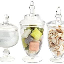 Mantello Decor Glass Apothecary Jars (Clear, Small, Set of 3) | Amazon (US)