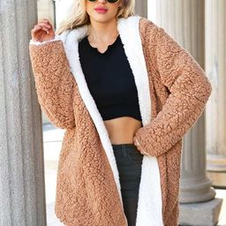 Reversible Hooded Teddy Coat | SHEIN