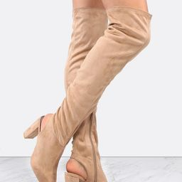 Peep Toe Suede Block Heel Boots TAUPE | SHEIN