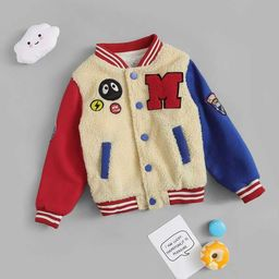 Toddler Boys Cartoon Embroidery & Patched Teddy Jacket | SHEIN