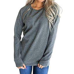 URIBAKE Women Fashion O-Neck Long Sleeve Zipper T-Shirt Blouse Pullover Sweatshirt Solid Color Grey   Amazon (US)