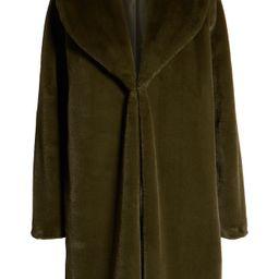 Leith Faux Fur Long Coat | Nordstrom