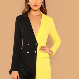 Two Tone Double Breasted Blazer Dress   SHEIN