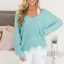 Commitment To Cool Sweater Aqua | The Pink Lily Boutique