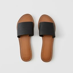 Faux Leather Slide Sandals | Abercrombie & Fitch US & UK