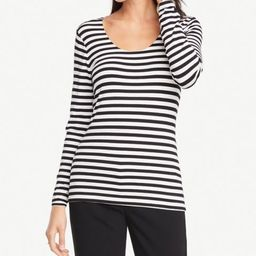 Petite Striped Long Sleeve Scoop Neck Tee | Ann Taylor Factory