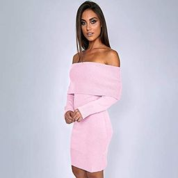 ALAIX Womens Sexy Off Shoulder Long Sleeve Pencil Bodycon Knitted Sweater Mini Dress Pullover | Amazon (US)
