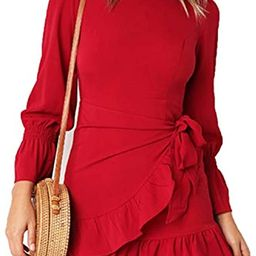 LEISUP Womens Slim Fit Strapping Bell Sleeve Lace Up Ruffles Mini Dress | Amazon (US)