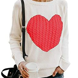 HYCYG Women's Knitted Long Sleeve Crew Ceck Pullover Sweater with Heart | Amazon (US)