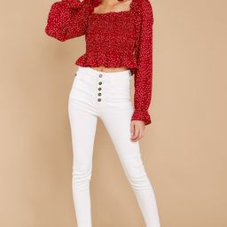 At Least For Now Deep Red Polka Dot Top | Red Dress