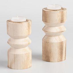 Natural Stacked Wood Tealight Candleholder | World Market