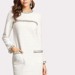 Whipstitch Trim Tweed Dress | SHEIN