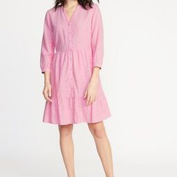 Waist-Defined Striped Shirt Dress for Women | Old Navy US