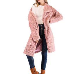 Waterfall Collar Solid Teddy Coat | SHEIN