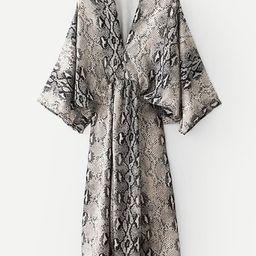Snakeskin Print Kimono Sleeve Dress | SHEIN
