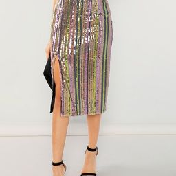 Colorful Sequin Skirt | SHEIN