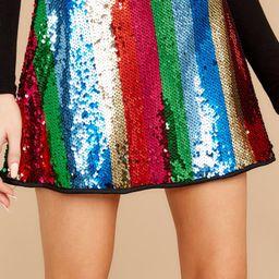 Ringleader Rainbow Sequin Striped Skirt | Red Dress
