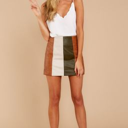 Turn Of Events Brown Multi Skirt | Red Dress