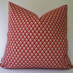 Red Pillow Cover Red Medallion Pillow Ballard Designs Red Pillow Cover Gillian Red Geometric 0 | Etsy (US)