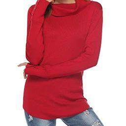 Women's Turtleneck Sweater Long Sleeve Slim Fit Stretch Lapel Neck Knit Pullover Warm Top   Amazon (US)