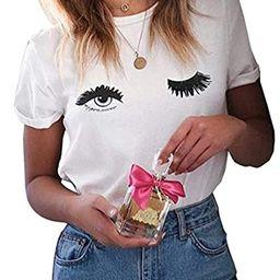 ROSEPARK Women Funny Printing Graphic T shirt | Amazon (US)