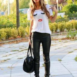 Eyelash Lip Print Rolled Sleeve Loose T-shirt | SHEIN