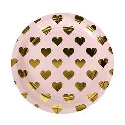 10ct Foil Heart Pattern Dinner Plates - Spritz™ | Target