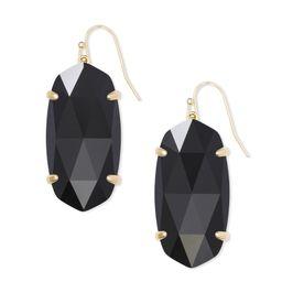 Esme Gold Drop Earrings In Black Opaque Glass | Kendra Scott