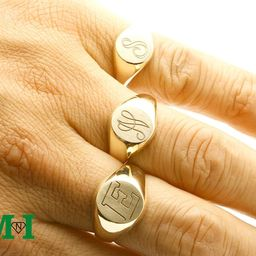 Signet Gold Script Rings,10K Ring,14K Solid Gold Ring,Initial Ring,personalized Engraved monogram Ri   Etsy (US)