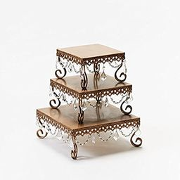 Opulent Treasures Square Chandelier Cake Stand, Dessert Display Plate, Appetizer Tray (Set of Three)   Amazon (US)