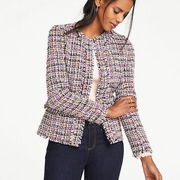 Fringe Tweed Peplum Jacket   Ann Taylor (US)