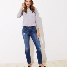 Modern Destructed Slim Pocket Skinny Jeans in Mid Indigo Wash   LOFT   LOFT