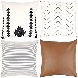 Woven Nook Decorative Throw Pillow Covers ONLY for Couch, Sofa, or Bed Set of 4 18x18 20x20 and 22x2 | Amazon (US)