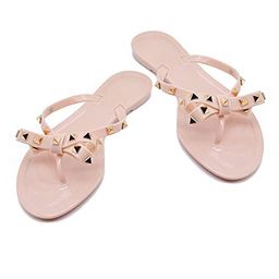TAISFY Women Bow Rivets Flip-Flops Sandals Bowtie Jelly Thong Flats Rubber Beach Rain Slippers   Amazon (US)