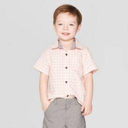 Toddler Boys' Gingham Short Sleeve Button-Down Shirt - Cat & Jack™ Pink   Target