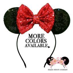 Fuschia Minnie Ears, pink Minnie Ears, Neon pink Minnie Ears, Rosegold Minnie Ears, sequin Minnie ea   Etsy (US)