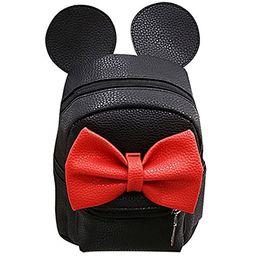Women Kid Girls Cartoon PU Leather Mouse Ear Bow Backpack Shoulder School Mini Travel Satchel Casual   Amazon (US)