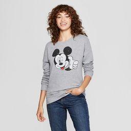 Women's Disney Mickey Mouse Graphic Pullover Sweatshirt (Juniors') Gray   Target