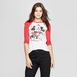 Women's Disney Mickey Kiss Couple Raglan 3/4 Sleeve T-Shirt - (Juniors') Burgundy/White   Target