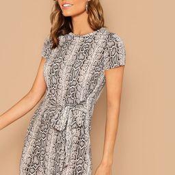 Snake Print Waist Tie Jersey Shirt Dress   SHEIN