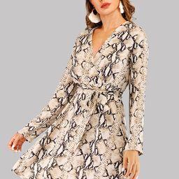 Self Tie Snake Print V-neck Dress   SHEIN