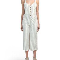Juniors Stripe Button Front Jumpsuit | TJ Maxx