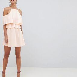 ASOS DESIGN High Neck Cold Shoulder Skater Mini Dress | ASOS US
