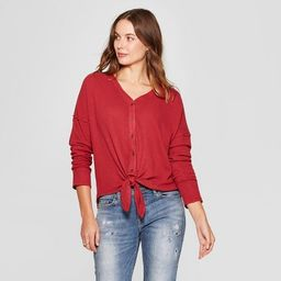Women's Long Sleeve Waffle Knit Tie Front Blouse - Knox Rose™ | Target