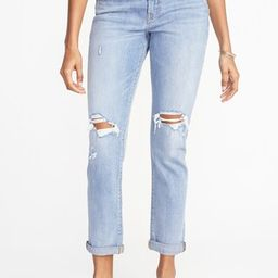 Mid-Rise Boyfriend Straight Distressed Jeans for Women | Old Navy US