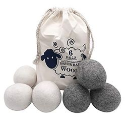 Wool Dryer Balls 6 Pack, XL Size Reusable New Zealand Merino Wool Natural Super-Premium Laundry Clot | Amazon (US)