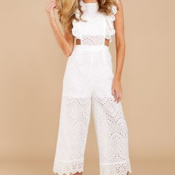 Live For The Weekend White Lace Jumpsuit | Red Dress