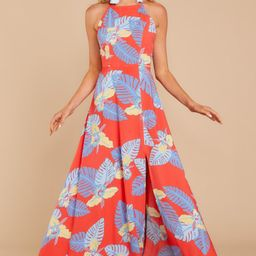 Change The Tropic Red Tropical Print Maxi Dress | Red Dress